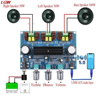 XH-A305 Bluetooth 5.0 Stereo Digital Power Amplifier Board TPA3116D2 50Wx2+100W 2.1 Channel Audio Bass Subwoofer AUX AMP Module tpa3116 2 100w bluetooth digital power amplifier board dual channel digital audio amplifier board module 2 2 0 super bass amp