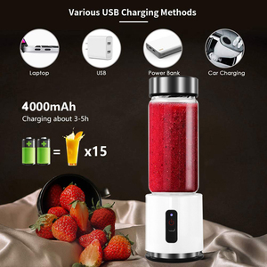 Image 2 - BPA FREE USB Rechargeable Smoothie Blender Battery Personal 380ml Glass Smoothie Blender Juicer Easy Small Portable Blender