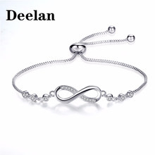 DEELAN Charm Bracelet for women Infinity CZ Zircon Crystal Jewelry girl fashion Adjustable Bracelets Lover Gift jewellery(China)