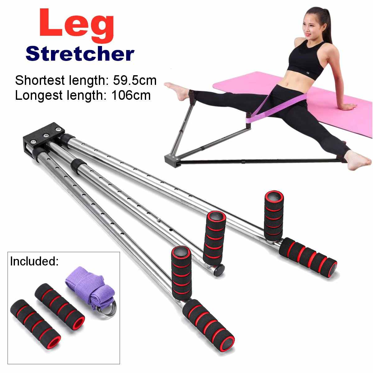Leg Stretcher Extension Home Workout Stainless Steel Yoga Exercise Training Gym