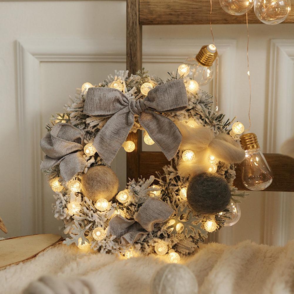 Christmas Wreath Artificial Rattan Flower Flocking Wreath Christmas Door Decoration String Light Illuminate Advent Wreath