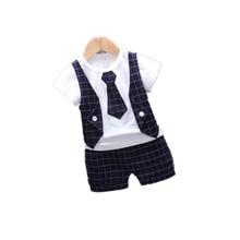 Children Tracksuits Baby Boys Girls Short T-shirt Shorts 2Pcs/sets Summer Kids gentleman Tie Plaid Bowknot Pure Cotton Clothes
