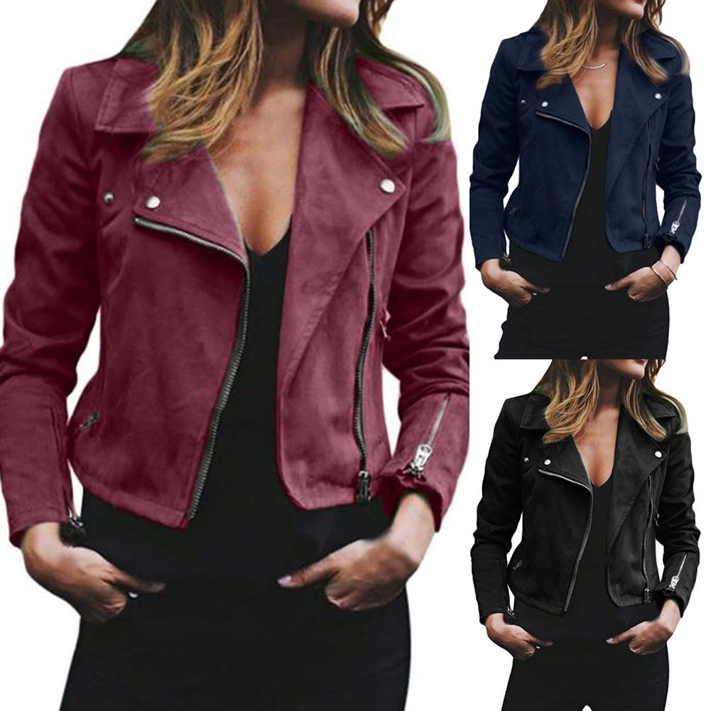 Spring Autumn Women Coat Female Casual Tops Ladies Suede Leather Zip Up Jackets Coats Women Coats Fashion Streetwear