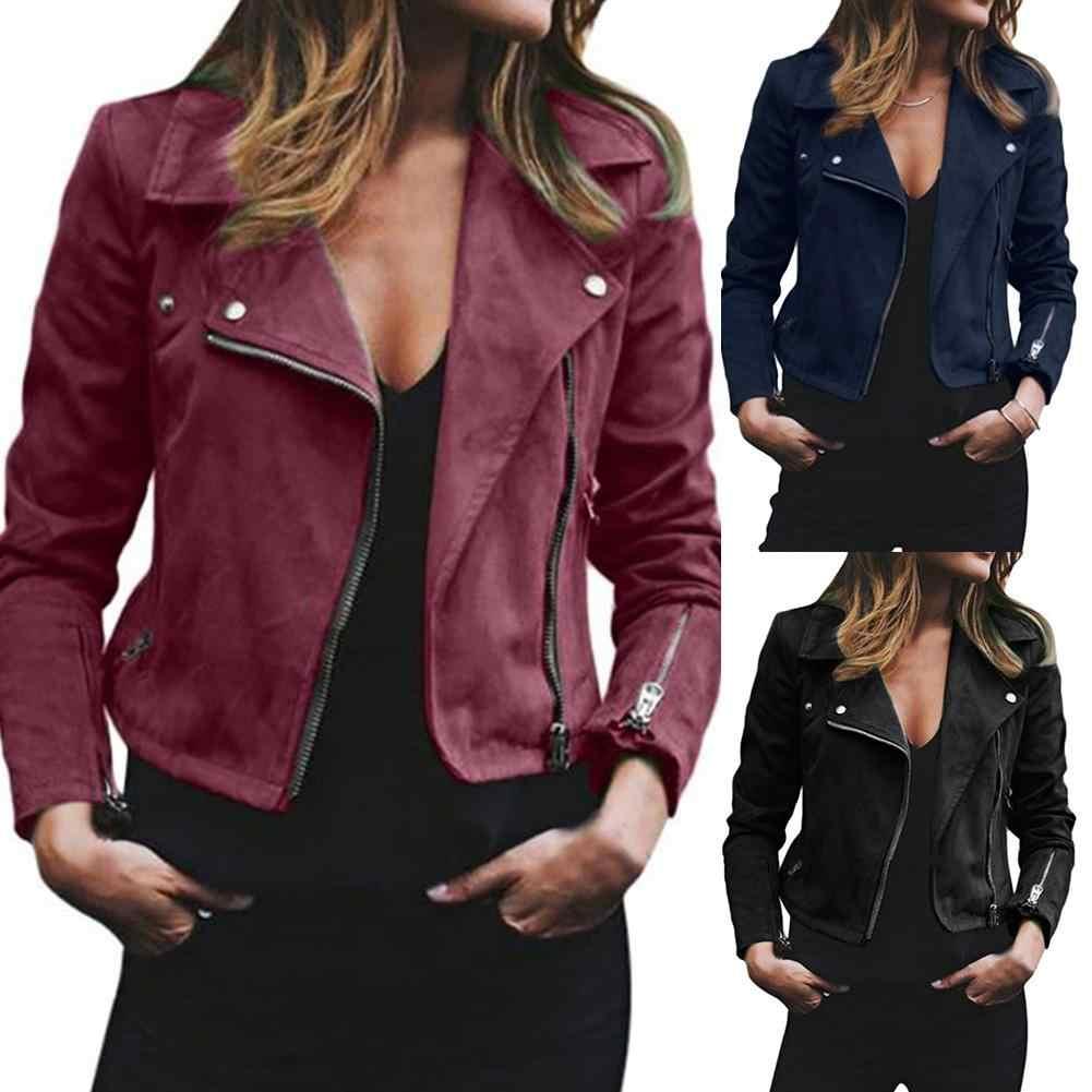 ฤดูใบไม้ผลิผู้หญิงฤดูใบไม้ร่วงหญิงเสื้อ Tops สุภาพสตรี Suede หนัง Zip Up เสื้อแจ็คเก็ตเสื้อแฟชั่น Streetwear