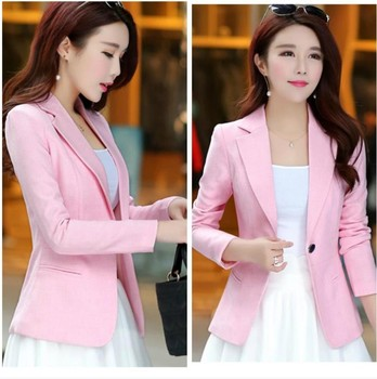 2021 Women Autumn Coat Fashionable Long Sleeve Slim Notched Office Lady Women Blazers And Jackets Pink Blazer Business Chic 4xl 1