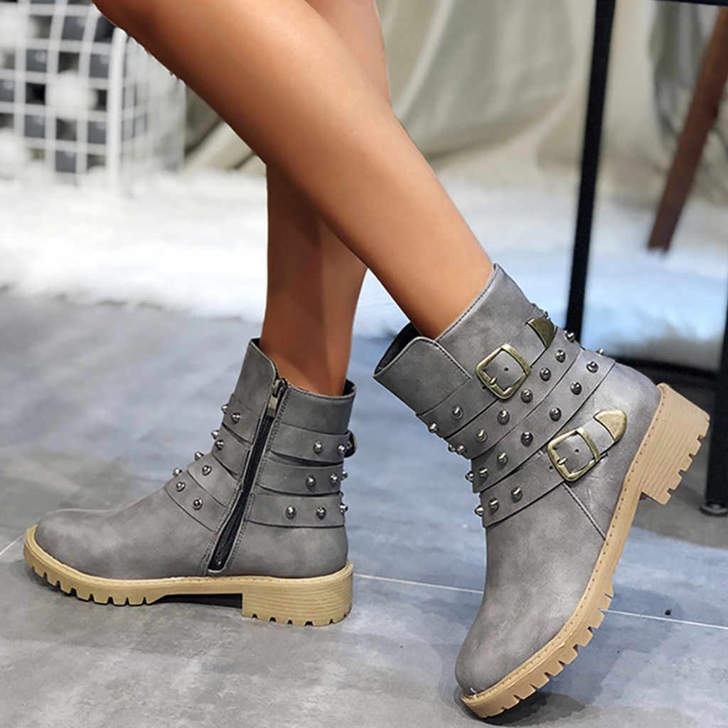 Schnalle Stiefel Frauen Mode Reine Farbe Runde Kappe Zipper Platz Heels Motorrad Vintage Schuhe botas mujer invierno 2019