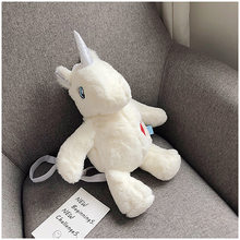 Plush Bag Women's 2019 New Style-Korean-style Versatile Cute Adorable Plush Toy Unicorn Shoulder Bag(China)