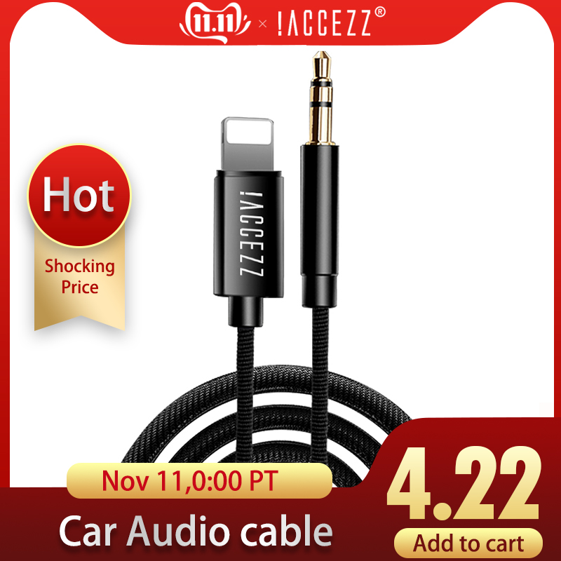 !ACCEZZ AUX Audio Cable To 3.5 Mm Jack Speaker Cable For Iphone 7 8 X XS MAX XR Car Headphone Headset Aux Converter Audio Jack