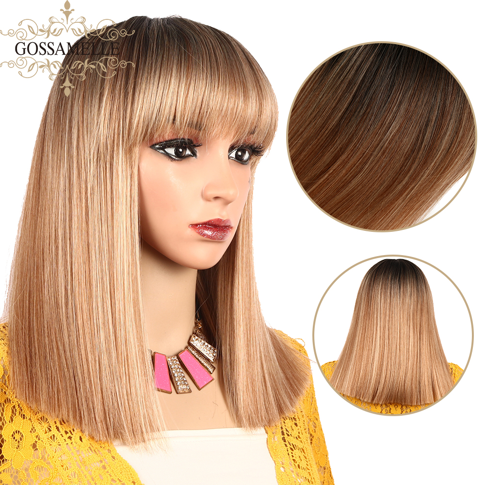 Gossamelle Ombre Short Bob Mix Golden Blonde Wigs With Bangs Cosplay Synthetic Wigs For Black Women Heat Resistant Wig