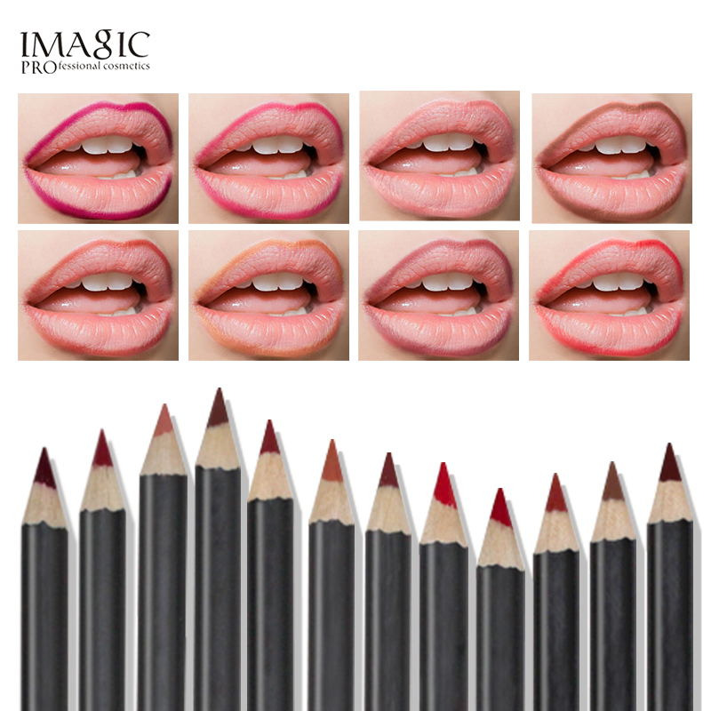 IMAGIC lipliner stift Mode Anhaltende Feuchtigkeit Lipliner Wasserdicht Lip Liner Stick Wasserdicht Bleistift 12 Farbe mit 1Pcs spitzer