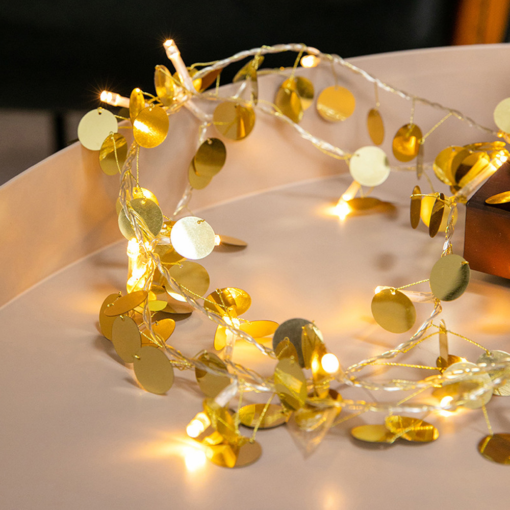 2M 20 LED Gold Sequin Fairy String Light Battery Operated Wedding Home Decor Holidays Bedroom Led Romantic Holiday Girl Room