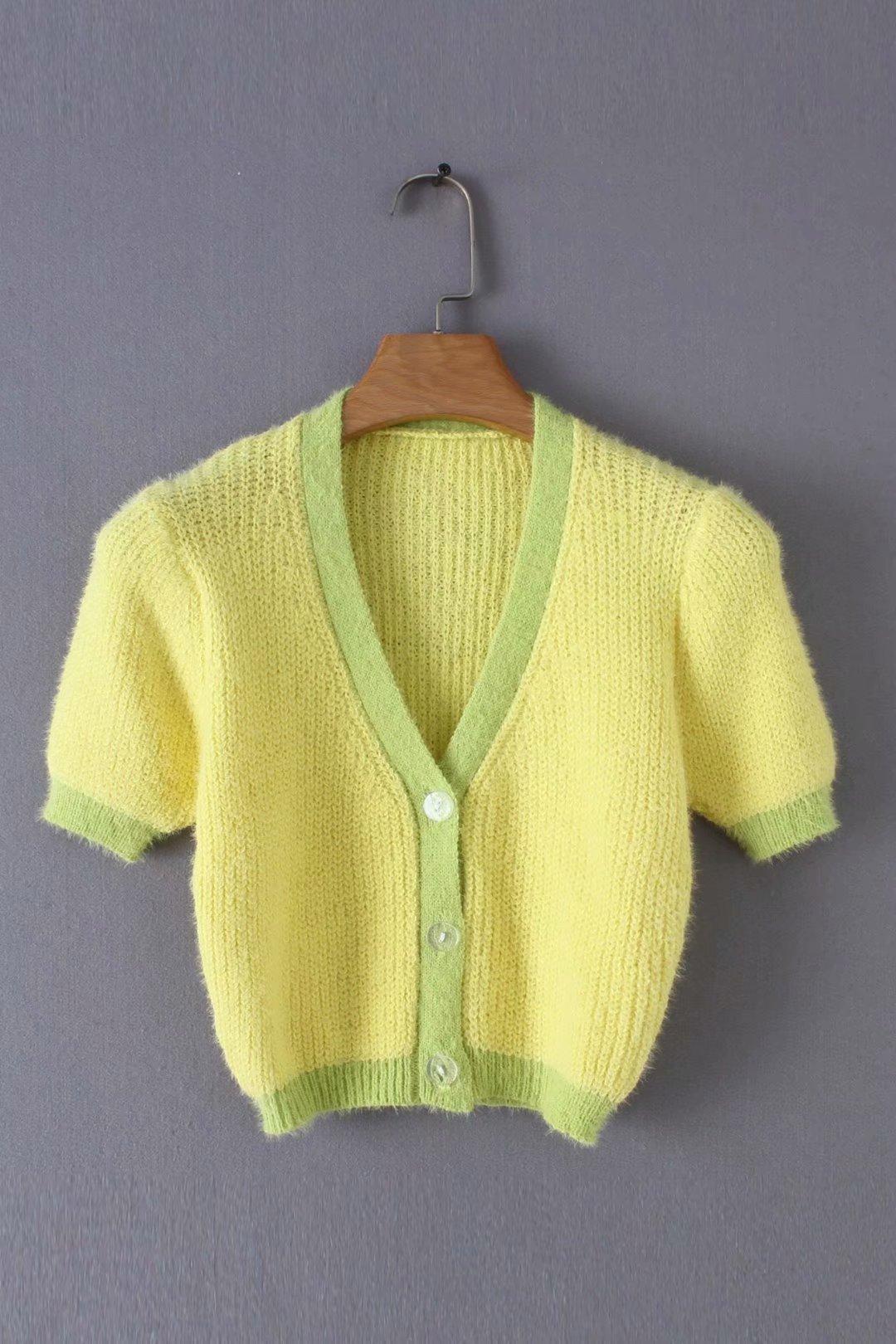 Pink cardigan womens sweaters korean crop sweater yellow autumn tops short sleeve v neck short cardigan mohair sweater fall 19 10