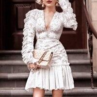 Women Long Sleeve Embroidery Dress Lace Party White Dresses Sexy V Neck High Waist Puff Sleeve Elegant Mesh Chiffon Dresses