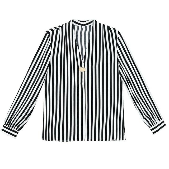 Casual black striped shirt women blouse long sleeve V-neck chiffon shirt fashion Korean ladies basic OL work shirt female tops 6