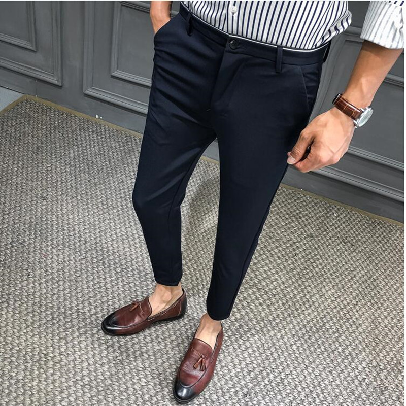 2019 Summer Man Slim Pants Male Smart Casual Trousers Plaid Thin Summer New Fashion Men Business Suit Pant Black Navy Blue