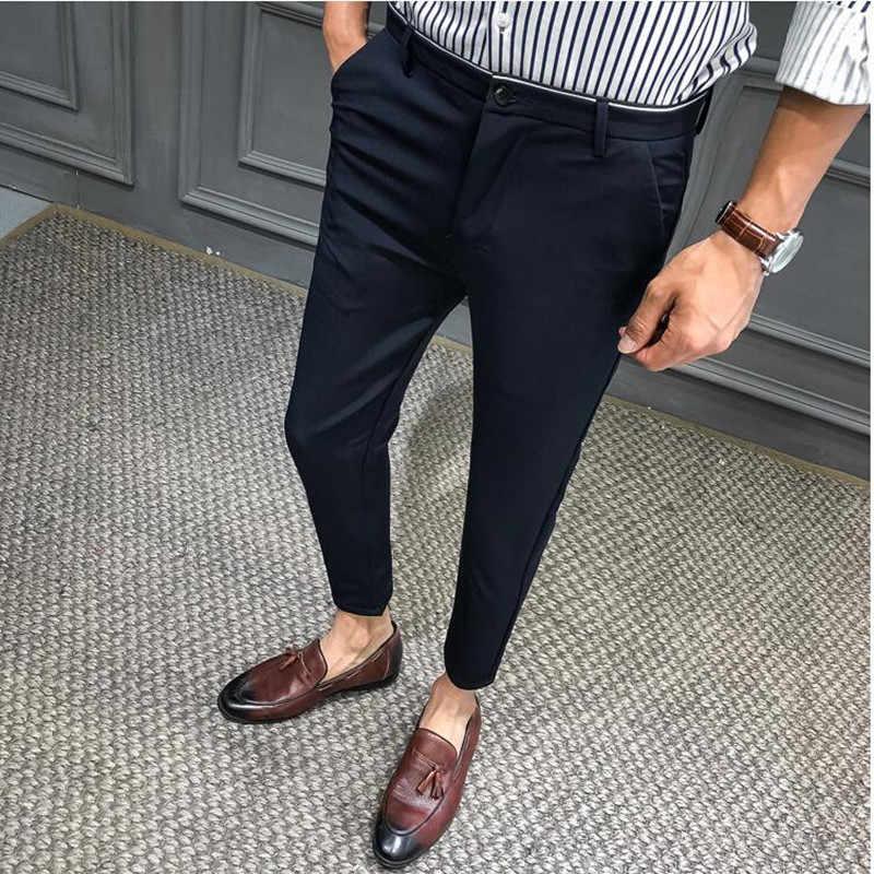 2019 Summer Man Slim Pants male smart Casual Trousers Plaid Thin Summer New  Fashion Men Business Suit Pant Black Navy Blue|Suit Pants| - AliExpress