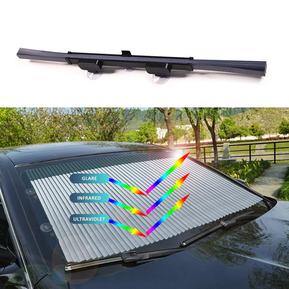 Retractable Car Sun Shade Windshield Curtains for Car Shade Cover Front Sun Block Visual Protection Foldable Window Blinds