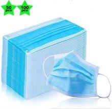 Máscara Unisex de protección 100 Uds mascarilla desechable no tejida Filtro de tres capas antipolvo germen máscara de cara de nariz