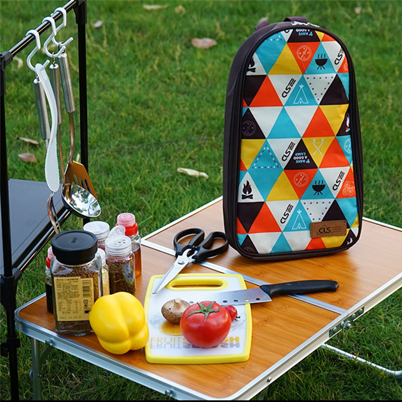National Style Camp Kitchen Utensil Organizer Travel BBQ Cookware Utensils Kit Cutting Board|Rice Paddle|Tongs|Scissors