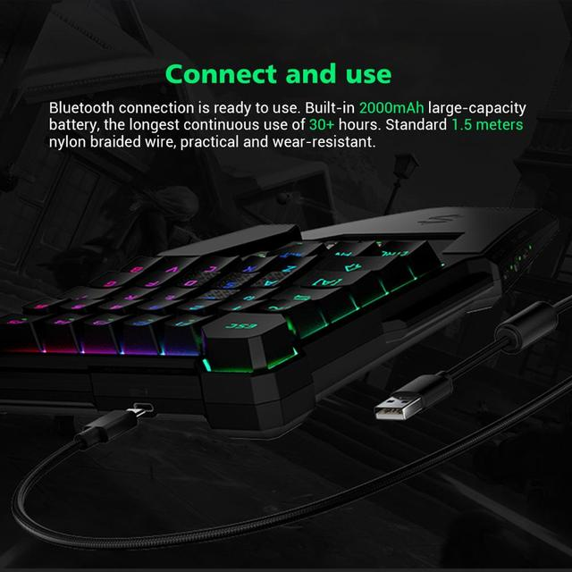 Black Shark  Mechanical Keyboard Wireless Bluetooth Compatible for Android iOS RGB LED Backlit Protable Keypad 2