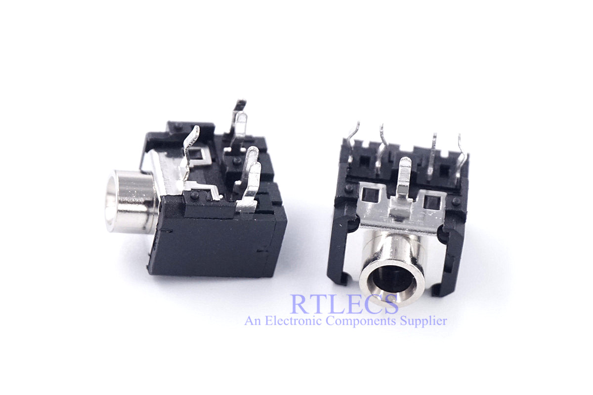 10pcs Audio Jack 3.5mm 5 Pin 3 Poles TRS Stereo Socket Internal 2 Switch DIP & Ring Switch Normally Closed Right Angle