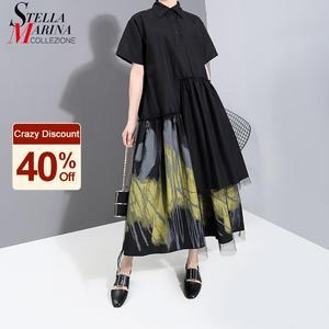 Nowy 2021 malowany styl kobiety lato projektant Vintage czarna długa sukienka koszulowa nadruk Retro Mesh nakładka pani sukienka na co dzień 6138