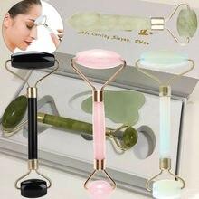 Кварцевый нефритовый каменный ролик для лица, инструмент для массажа красоты, натуральный массажер для лица, женский, для тела, для лица, каменный ролик