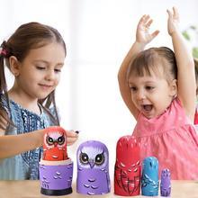 5 шт. деревянные русские Матрешки, Набор детских кукол в этническом стиле, Matryoshka, игрушки для детей, птица, цветок, краска для лица