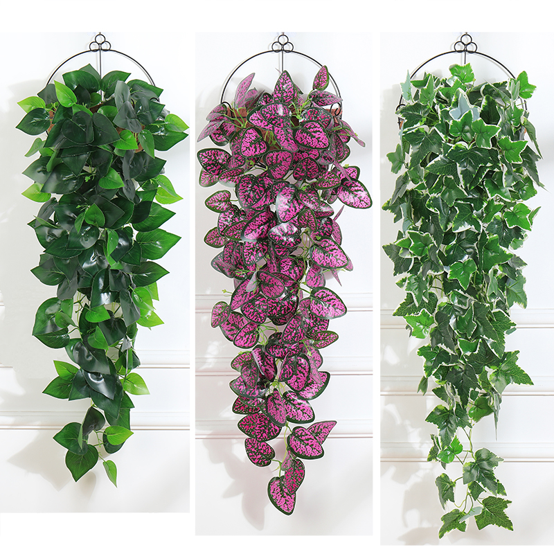 97cm Artificial Hanging Plants 1pcs  Greenery  Leaf Silk  Fake Plant Decor  Jungle Party Hojas Artificiales Para Decoracion