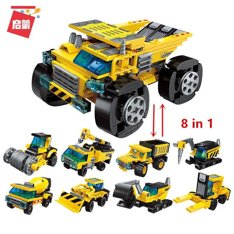 Enlighten Mini Building Blocks Deformation Trucks Helicopter Bricks Legoed Technic City Blocks Toys For Boys Xmas Gifts 8 In 1