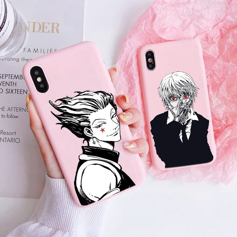 Funny Cute Cartoon Hisoka Hunter X hunter Soft Baby Pink phone Case For iPhone 11Pro MAX 5S SE 6 6s7 8 Plus X XS XR Anime Cover(China)