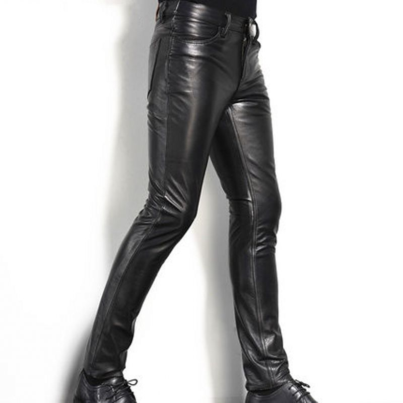 2020 New Fashion Mens Long Pants Genuine Leather Cow Slim Fit Motorcycle Biker Male Trousers Black Plus Size Formal Pants Skinny