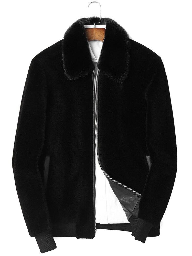 100% Wool Coat Winter Jacket Men Real Sheep Shearling Fur Coats Mens Mink Fur Collar Streetwear Jackets P-M8328C MY1580