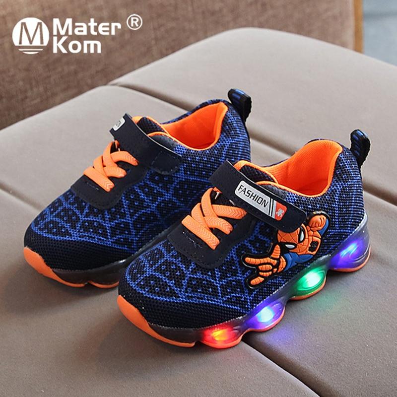 Size21-36 Luminous Kids Shoes For Boys Girls Spiderman LED Light Children Luminous Sneakers Mesh Sport Baby Boy Girl Light Shoes
