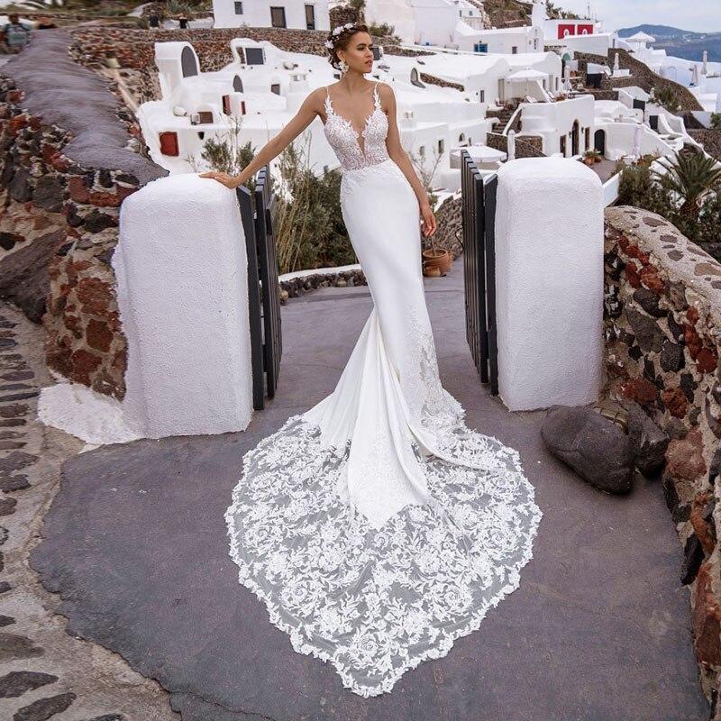 Eightale Boho Wedding Dress With Long Train V-Neck Appliques Lace Mermaid Spaghetti Strap Beach Bridal Gowns Abito Da Sposa 2020