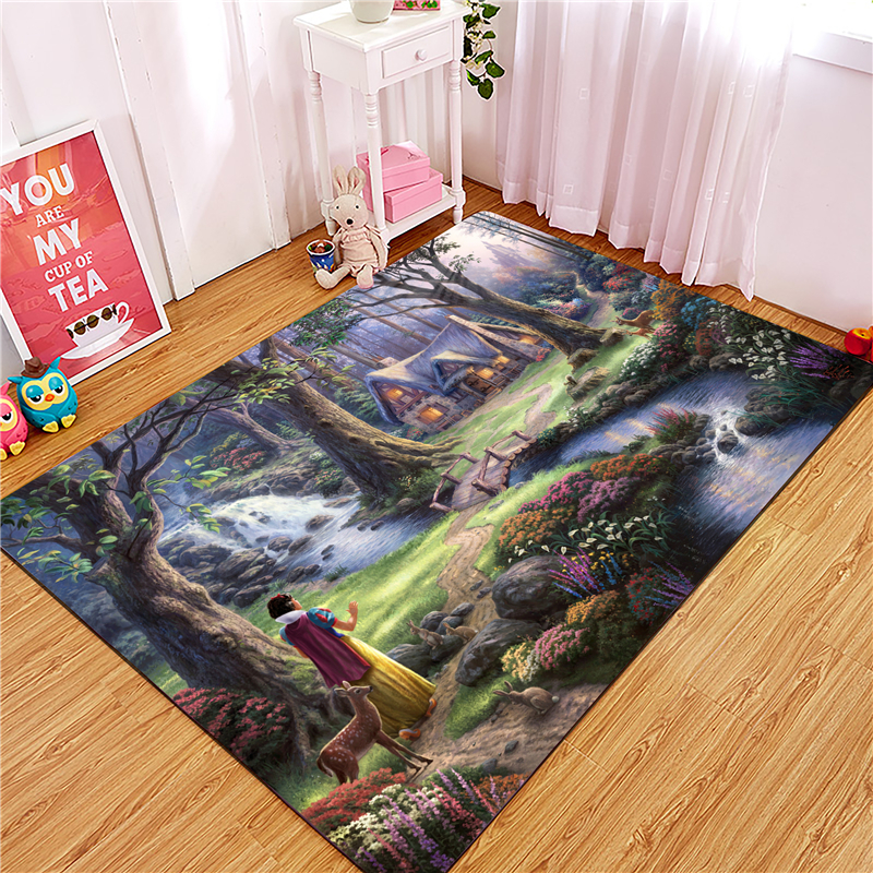 Snow White Bath Mat Bathroom Non Slip Carpet Rug Absorption Cartoon Mat Kitchen Door Floor Anti-slip Kitchen