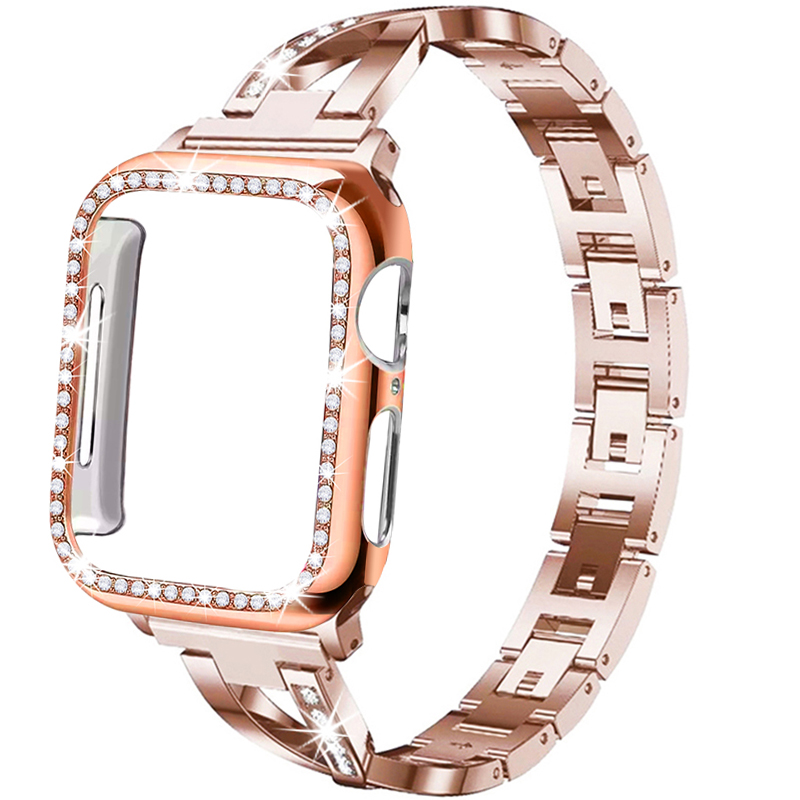 Strap + Case Suitable For Apple Watch 5/4/3/2/1 Stainless Steel Crystal Diamond Bracelet 38mm 40mm 42mm 44mm Iwatch Metal Band