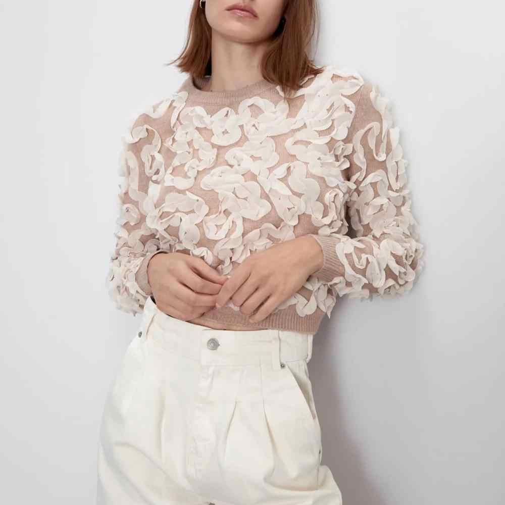 ZA 2019 sweter damskie zimowe dzianiny koronkowe przeszycia teksturowane sweter o-neck Casual fashion bluzki damskie kobieta sweter