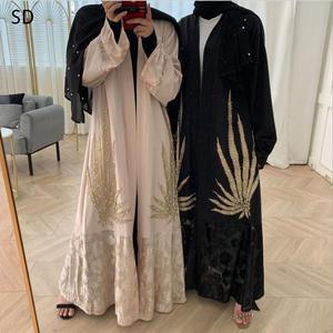 Long Embroidery Open Abaya Dress Peignoir Fashion Dubai Islamic Abayas Prayer Service Clothing Muslim