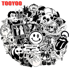 10 60Pcs set Cartoon Black And White PVC Waterproof Sticker For DIY TOY Guitar Scrapbook Skateboard Snowboard Laptop Luggage cheap COCOFLASH 1 2in(3CM)-3 9 in(10CM) Toy stickers 0325 Christmas Halloween Birthday Valentine s Day  Waterproof PVC Leave trace instagram anime stickers children kpop