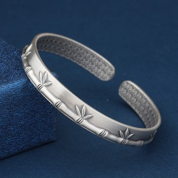 Vintage Bamboo Bracelet Wide Bangle 999 Thai Silver Bangles for Women Adjustable  Open Bangles Handmade Hand Jewelry Accessories