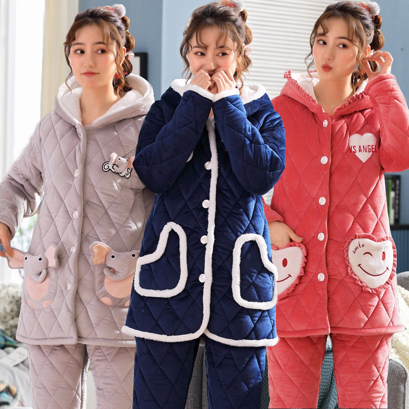 to winter live long crystal ultra soft quilted belt cap with thick cotton-padded jacket pajamas leisurewear wholesale