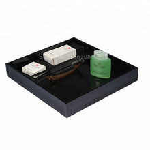 Black Square Acrylic Trinket Stackable Tray Phone Key Wallet Coin Desktop Storage Sundries Box Bins Accessories Home Supply