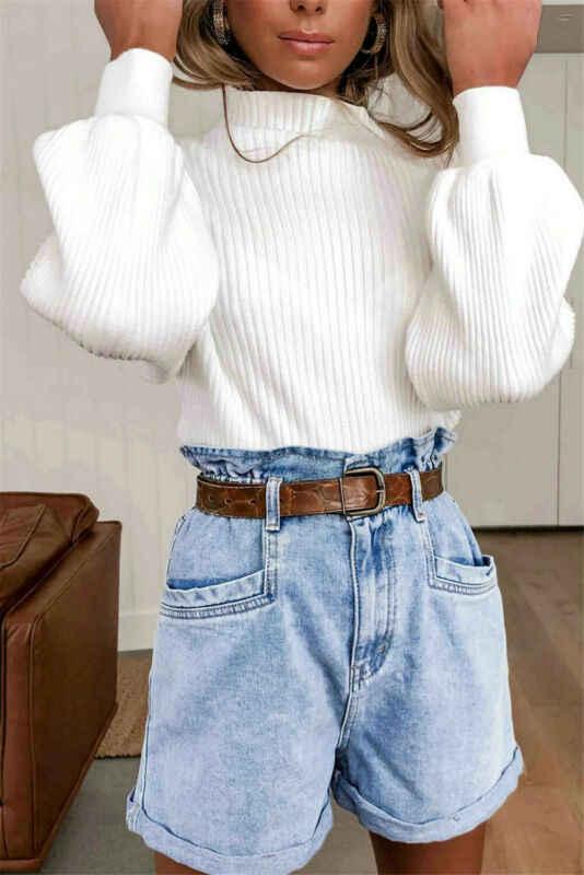 الكورية أزياء السيدات فانوس كم المرأة الحياكة سترة الصلبة الياقة المدورة البلوز و البلوز سترة فضفاضة رائجة البيع