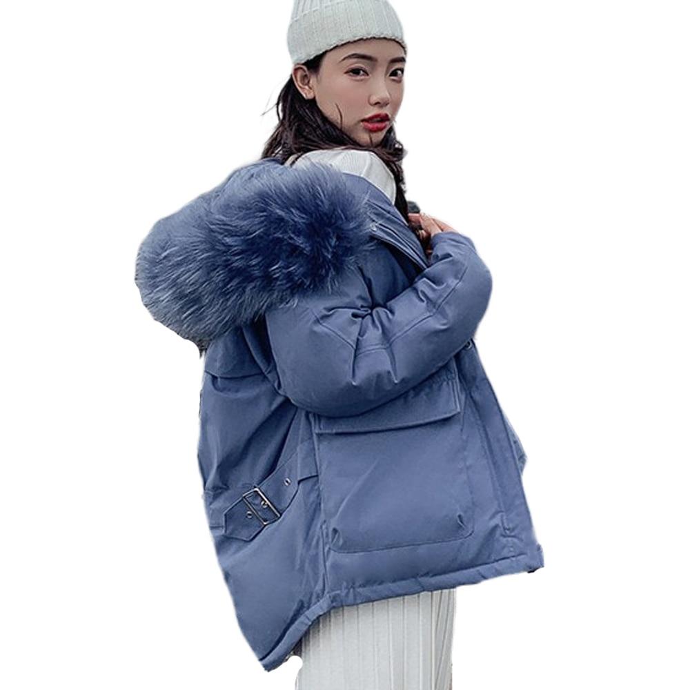 2019 New Winter Hooded   Parka   Womens Thickening Outerwear Slim Down Cotton Coat Female Long Fur Collar Winter Jacket Women