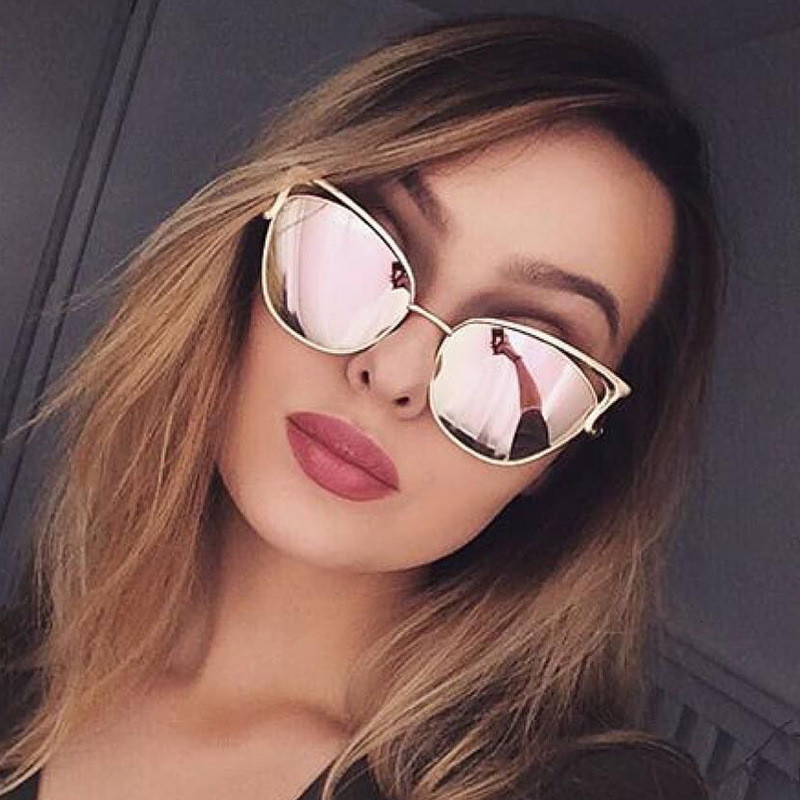LONSY Sexy Cat Eye Sunglasses Women Brand Design Metal Frame Mirror Rose Gold Sun Glasses Female UV400 Retro Oculos De Sol Gafas