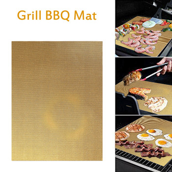 Reusable Non-Stick BBQ Grill Mats 0.2mm Thick PTFE Baking Mat Heat Resistance Outdoor Barbecue Accessories 40x33cm 1/2/3/4/5 Pcs image