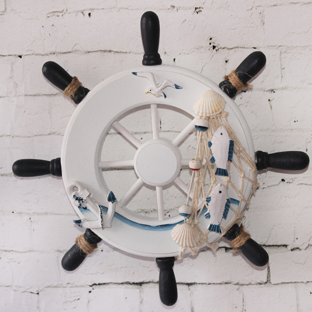 23 cm Anchor Helmsman Wooden Boat Ship Rudder Fishing Net Home Wall Nautical Decoration Wheel Wood Craft Decor Mediterranean