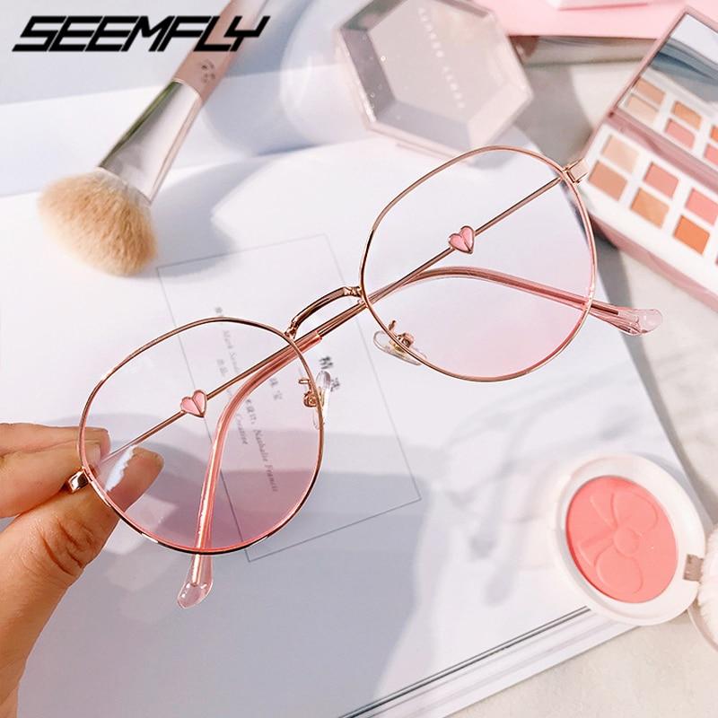Seemfly Pink Blush Gradient Glasses Fashion Round Decorative Sunglasses Women 2019 New Korean Cute Girlish Style Shades Eyewear