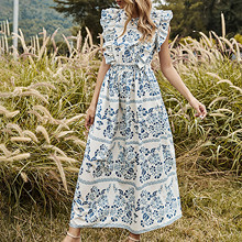 Dress Skirt Women's Summer Long Fashion Bohemian Sleeveless Party-Robe O-Neck Printed